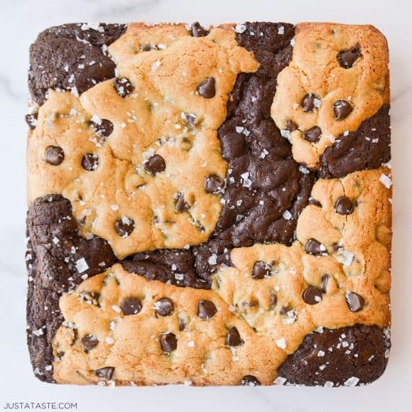 Soft and chewy chocolate chip cookie brownies with large flake sea salt