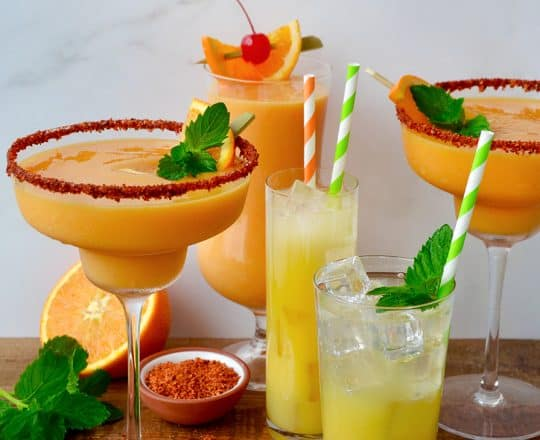 Orange and mango margarita cocktails and mocktails