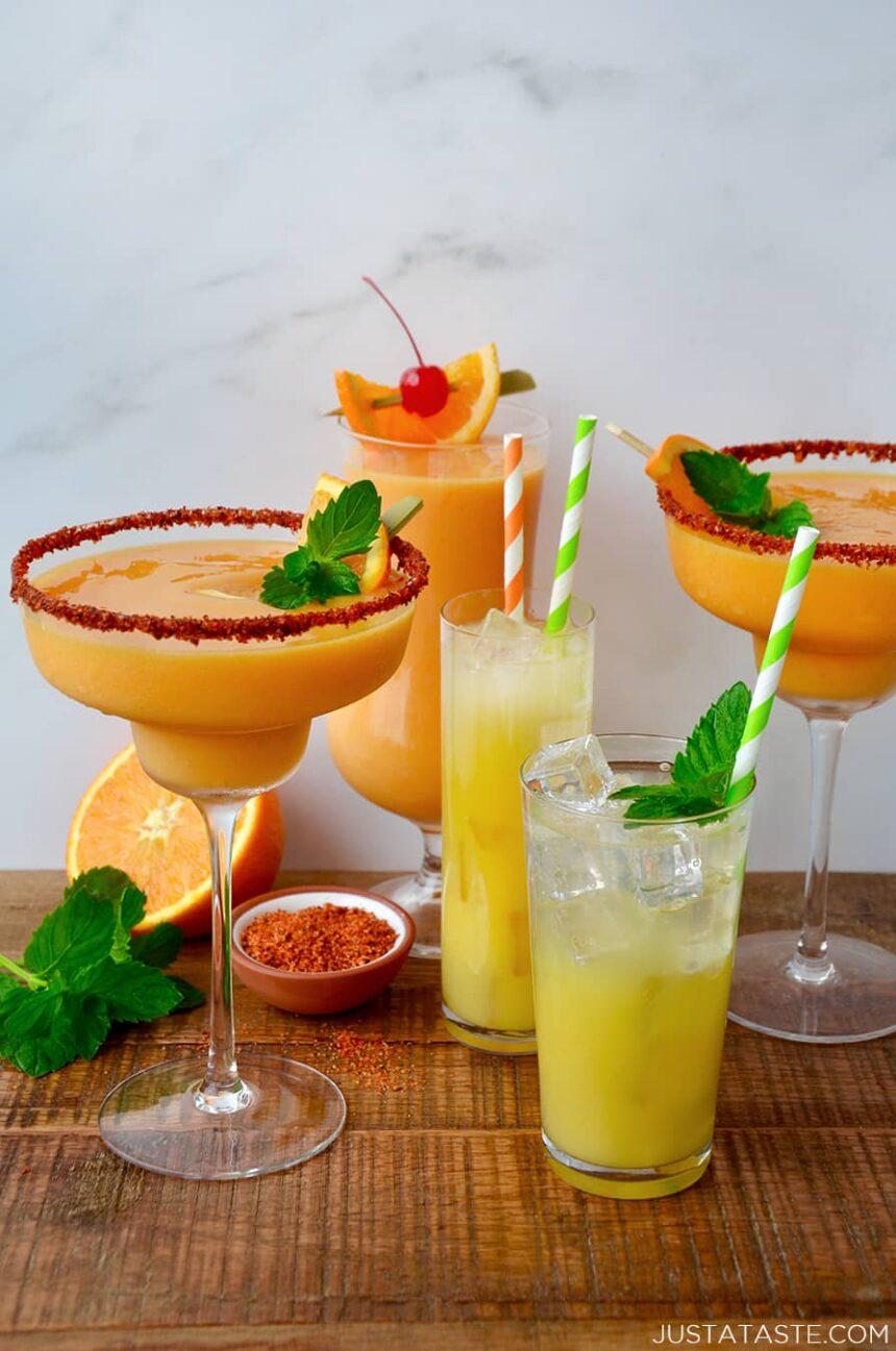 Orange and mango margarita cocktails and mocktails