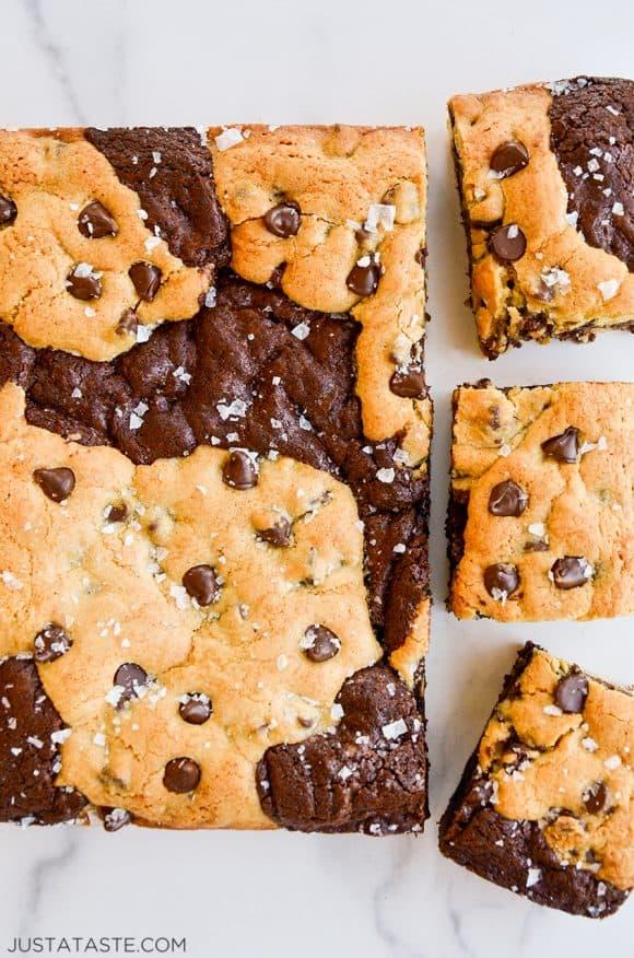 Chocolate Chip Cookie Brownies (Brookies) with large flake sea salt
