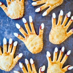 Top down view of the best Halloween Hand Pies with almond nails