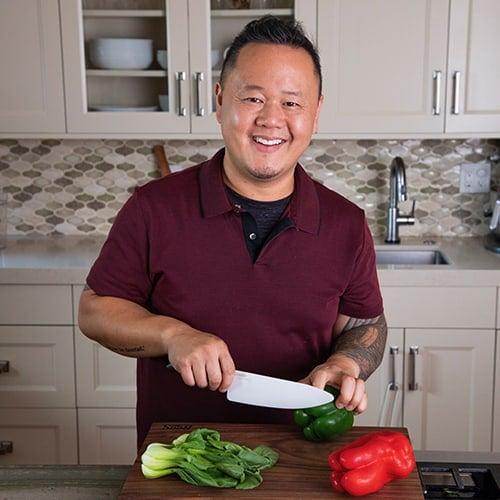 Jet Tila in his kitchen