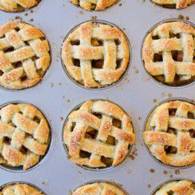 Top down view of Muffin Tin Mini Apple Pies