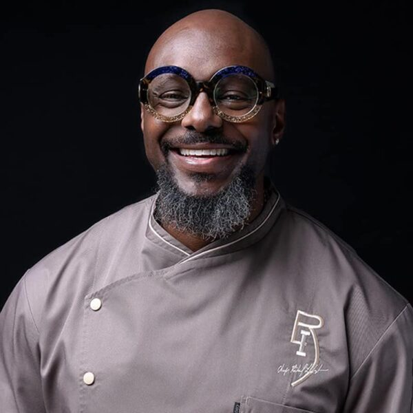 Chef Richard Ingraham in a grey chef's coat