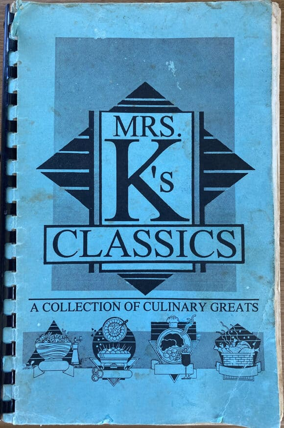 The cover of a cookbook from the 1950s