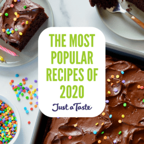 A chocolate cake with text on top for the Most Popular Recipes of 2020