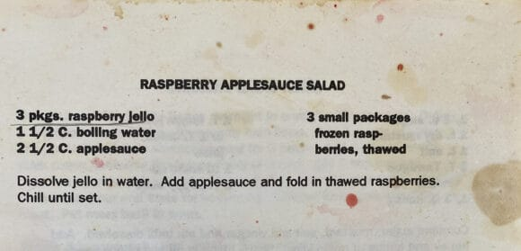 An old recipe card for applesauce jello salad