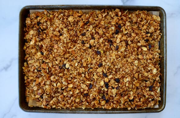 A baking sheet containing honey granola