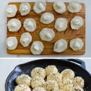 Vertical collage of step-by-step images for making bagel bites stuffed with cream cheese