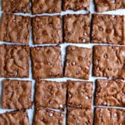 Top-down view of chewy chocolate brownie bark