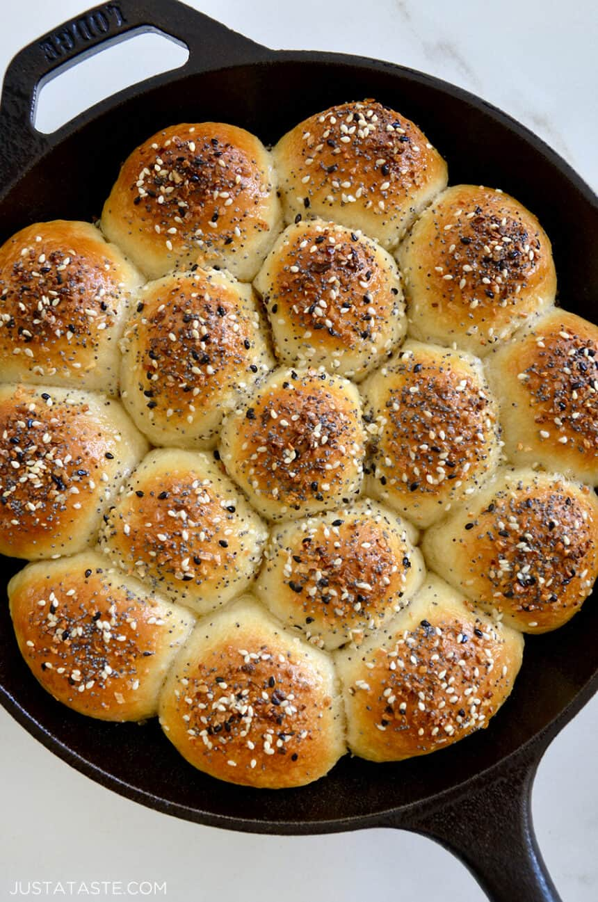 Top-down view of Everything Bagel Pull-Apart Bread with Cream Cheese in cast iron skillet