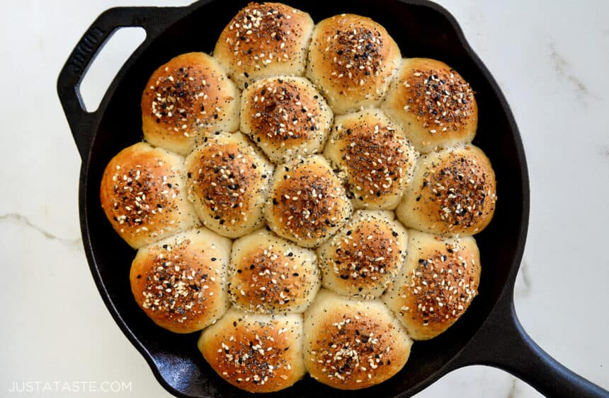 Everything Bagel Pull-Apart Bread with Cream Cheese in a cast iron skillet
