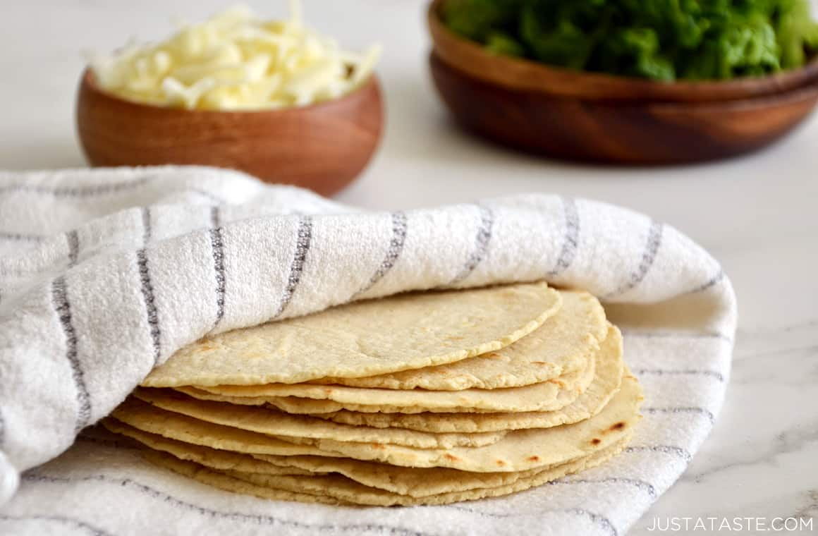 A stack of corn tortillas