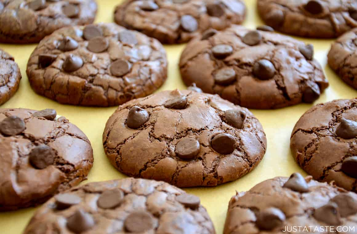 A baking sheet containing Chocolate Chip Brownie Cookies
