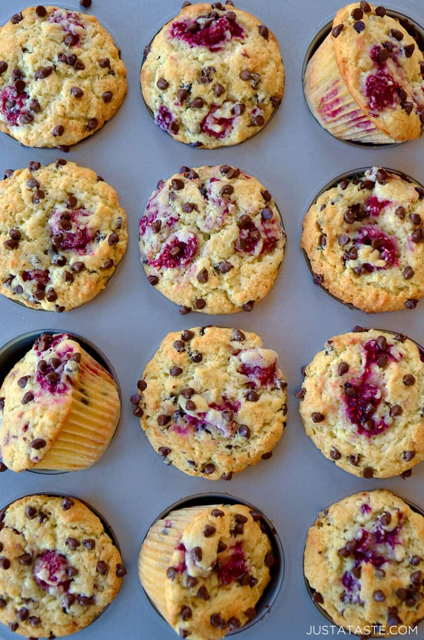 A top-down view of Raspberry Chocolate Chip Muffins Recipe