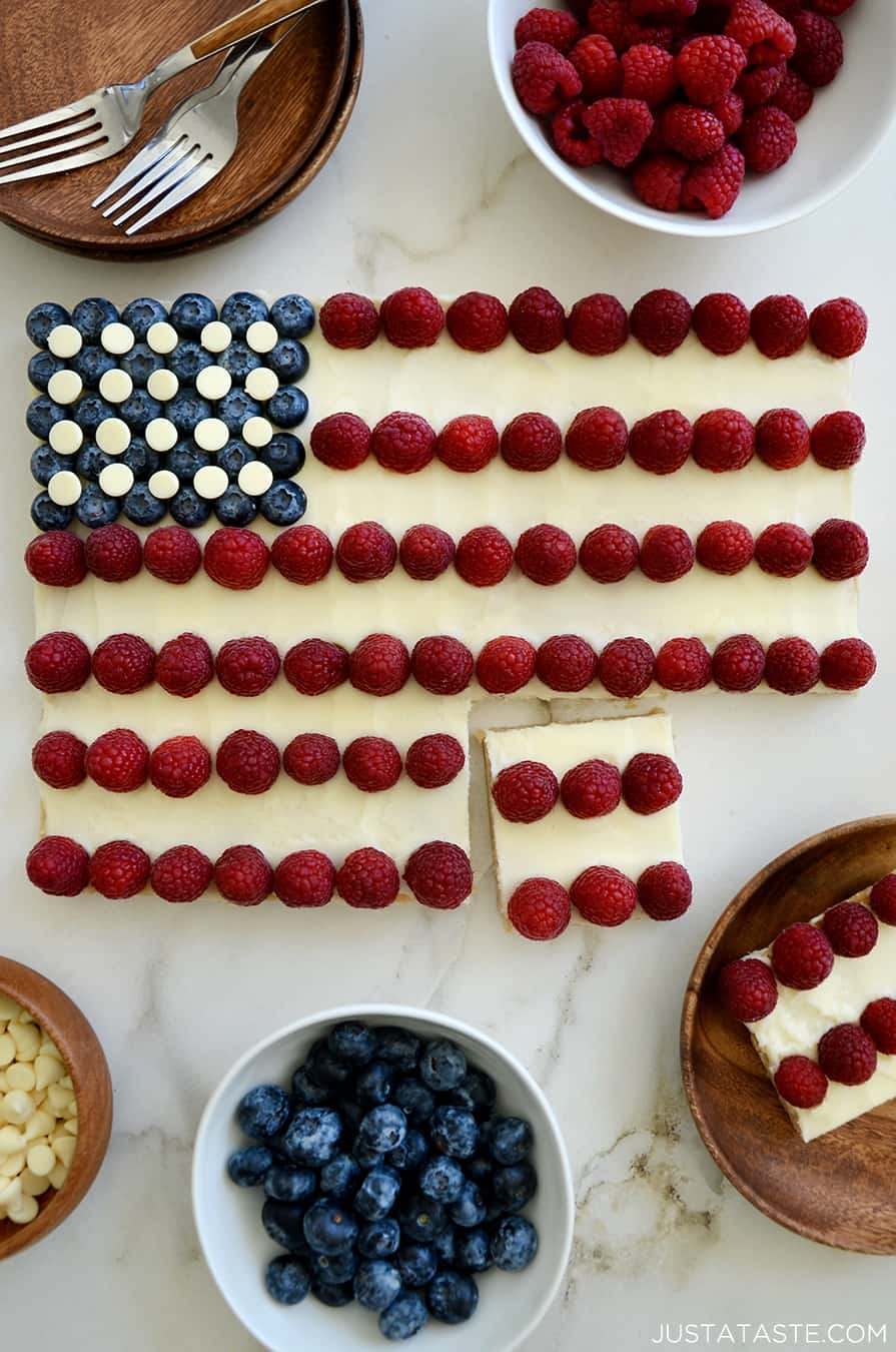 A top-down view of a cookie cake in the shape of an American flag