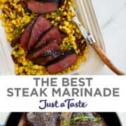 Top image: Sliced steak topped with large-flake sea salt over a bed of sautéed corn and mushrooms. Bottom image: A large skillet containing four perfectly cooked steaks garnished with fresh thyme.