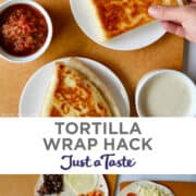 Vertical collage of two images. Top image: Three triangle tortilla wraps on white plates with a hand grabbing one of them. Bottom image: Top-down view of three open-faced tortillas with various fillings.