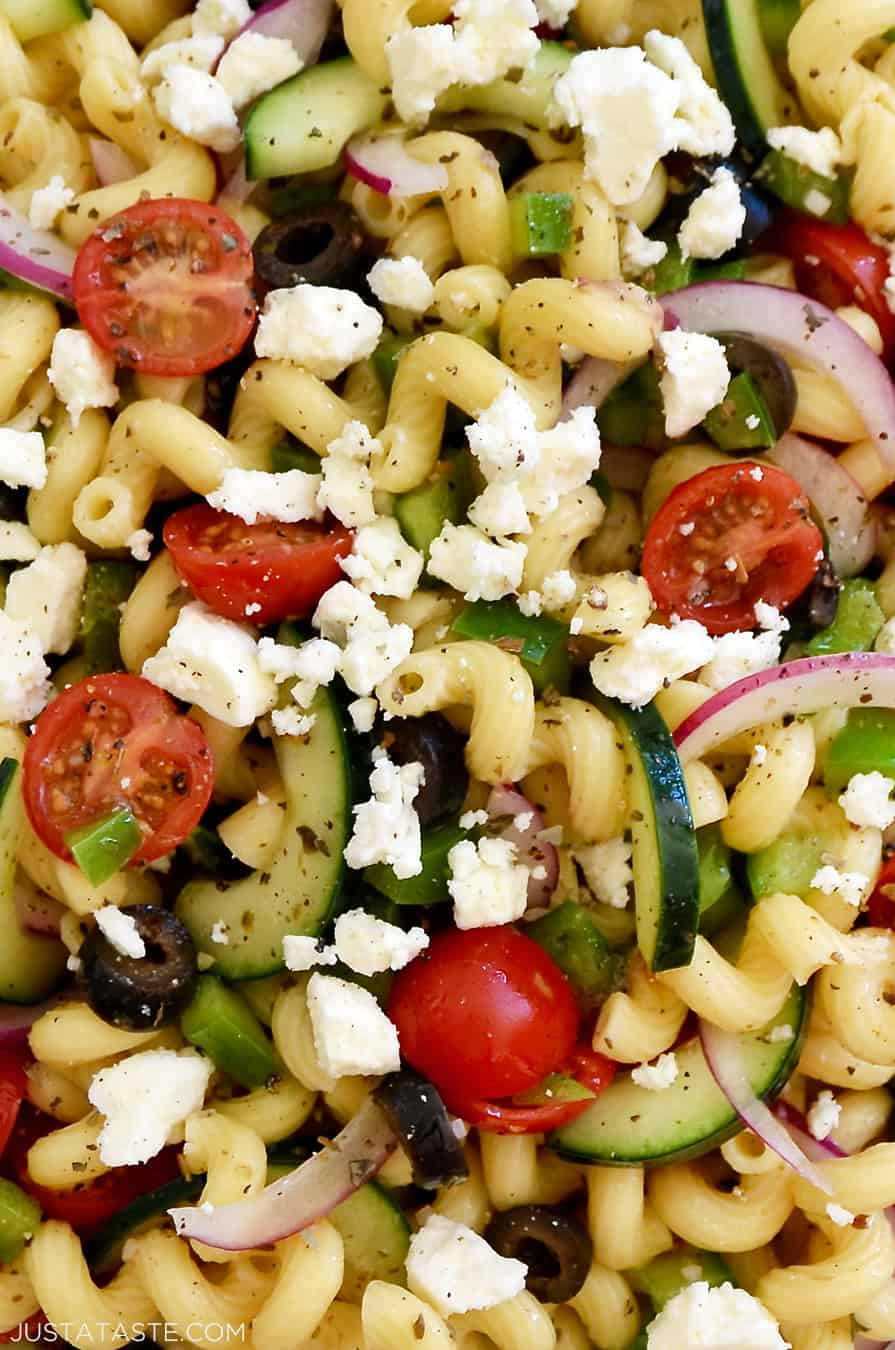 A close-up of Greek Pasta Salad with red wine vinaigrette