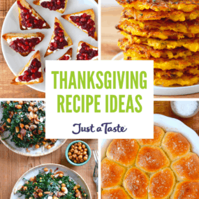 Collage of images: 15-Minute Cranberry Relish, 5-Ingredient Butternut Squash Fritters, Easy Homemade Dinner Rolls, and Kale Salad with Warm Bacon Vinaigrette