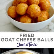Top image: Fried Goat Cheese Balls piled high in a white bowl being drizzled with honey. Bottom image: A slotted spoon with Fried Goat Cheese Balls over a pot with hot oil.