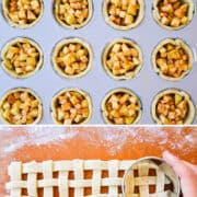 Vertical collage of images. Top image: Mini Apple Pies in a muffin tin. Second image: Apple pie filling nestled in pie dough. Third image: A hand cutting. out round lattice topping. Last image: A top-down view of unbaked Muffin Tin Mini Apple Pies with lattice top.