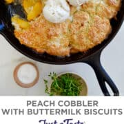 Top image: Peach Cobbler with thyme buttermilk biscuit topping in a cast-iron skillet topped with three scoops of vanilla bean ice cream. Bottom image: Peeled peaches on a cutting board next to a pairing knife.