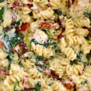 Creamy Tuscan Chicken Pasta starring spinach, cubed chicken breast and sun-dried tomatoes.