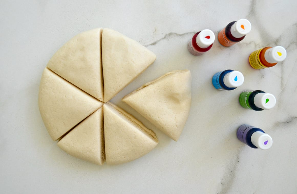 A ball of playdough divided into six wedges