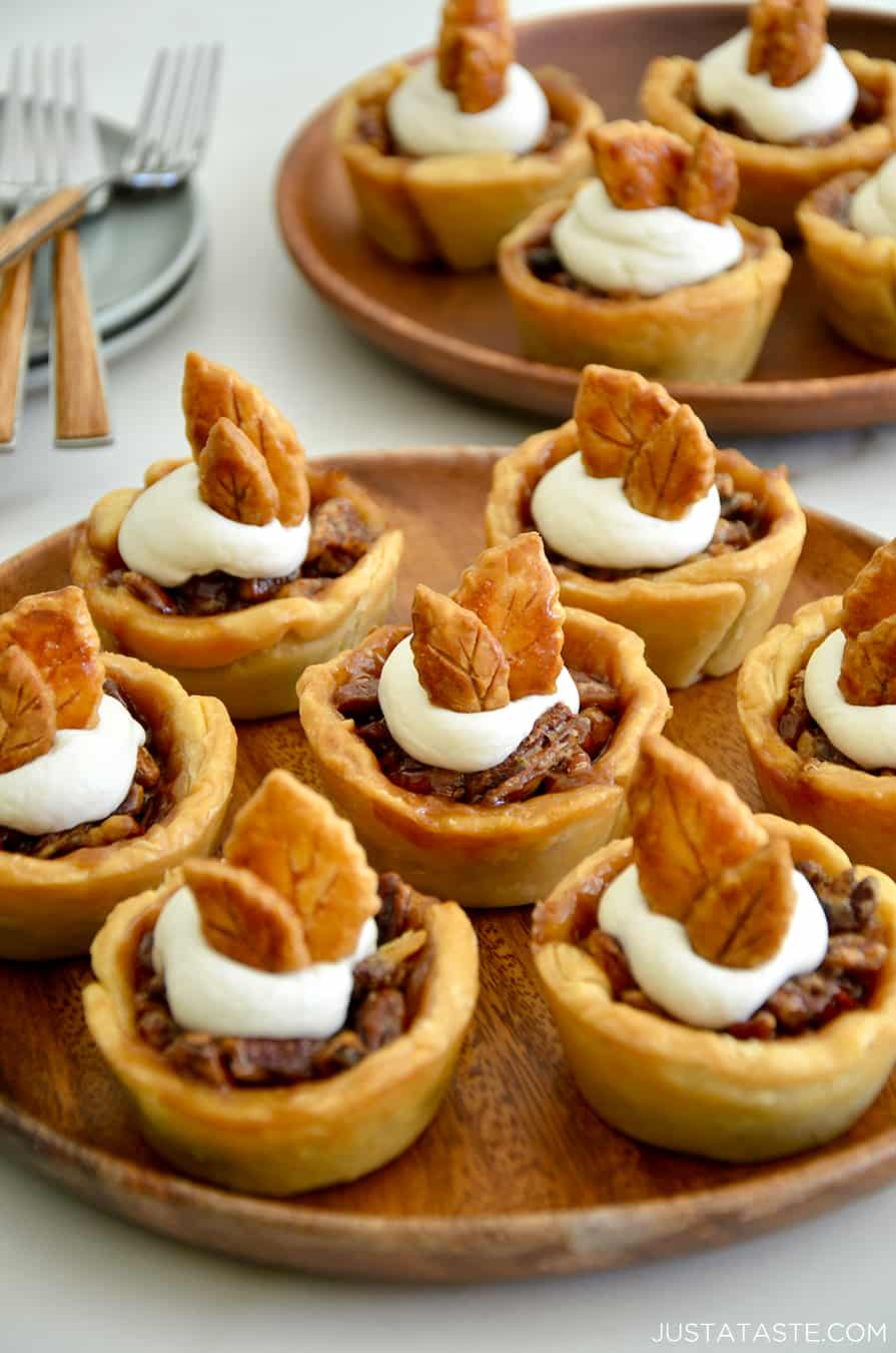 Muffin Tin Mini Pecan Pies on a serving plate