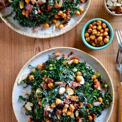 Kale salad topped with crispy chickpeas